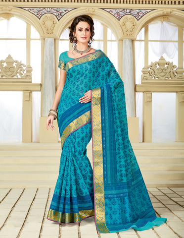 Designer Party Casual Wear Printed Blue Cotton Saree By Takshaya