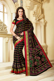 Designer Party Casual Wear Printed Black Cotton Saree By Takshaya