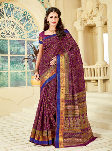 Designer Party Casual Wear Printed Purple Cotton Saree By Takshaya