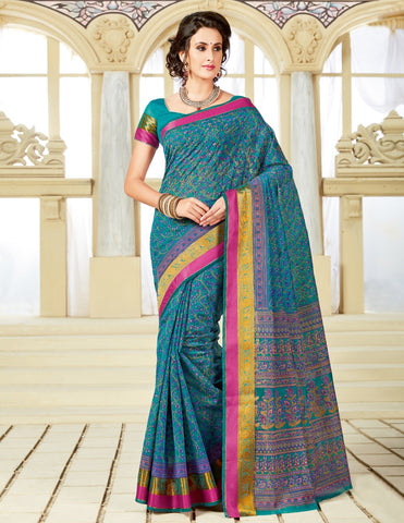 Designer Party Casual Wear Printed Cotton Blue Saree By Takshaya