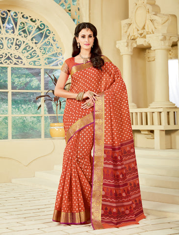 Designer Party Casual Wear Printed Orange Cotton Saree By Takshaya