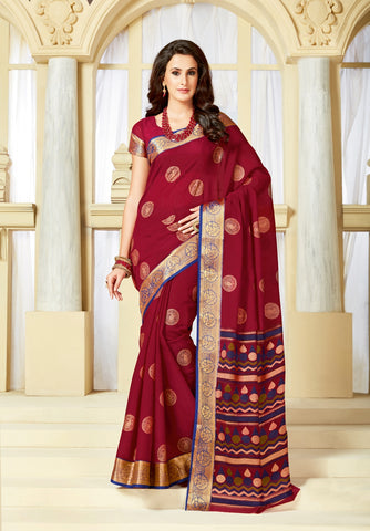 Designer Party Casual Wear Printed Maroon Cotton Saree By Takshaya