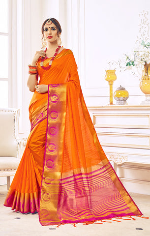 Takshaya Partywear Orange Nylon Silk Weaving Saree