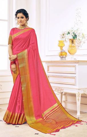 Takshaya Partywear Pink Nylon Silk Weaving Saree