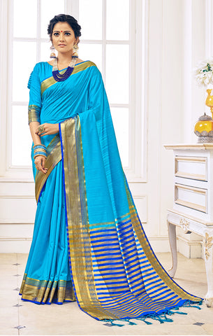 Takshaya Partywear Sky Blue Nylon Silk Weaving Saree