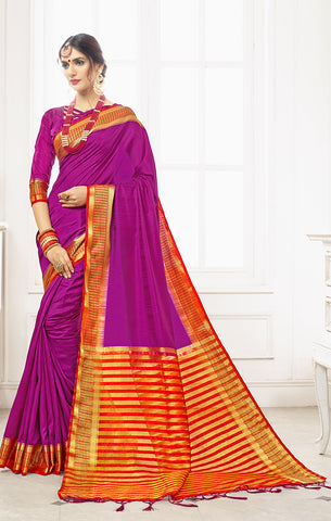 Takshaya Partywear Purple Nylon Silk Weaving Saree