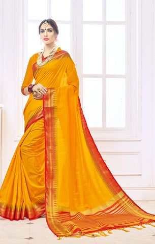 Takshaya Partywear Yellow Nylon Silk Weaving Saree