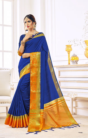 Takshaya Partywear Blue Nylon Silk Weaving Saree