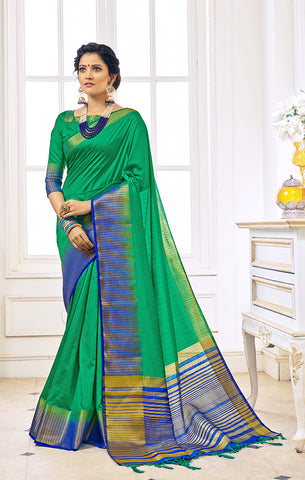 Takshaya Partywear Green Nylon Silk Weaving Saree