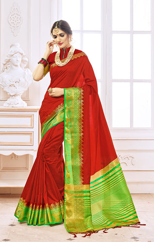 Takshaya Partywear Red Nylon Silk Weaving Saree