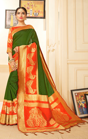 Takshaya Partywear Green Banarasi Silk Weaving Saree