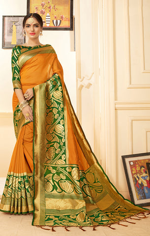 Takshaya Partywear Orange Banarasi Silk Weaving saree