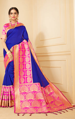 Takshaya Partywear Blue Banarasi Silk Weaving Saree