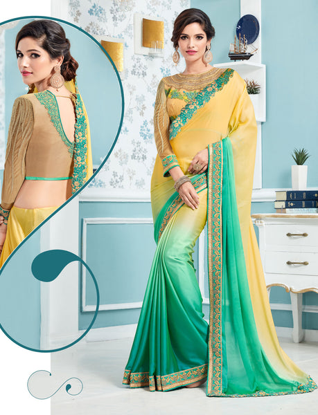 Designer Partywear Embroidered Two Shaded Yellow & Green Chiffon Saree By Takshaya