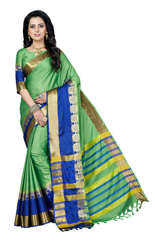 Takshaya Partywear Green Cotton Silk Saree With Double Blouse