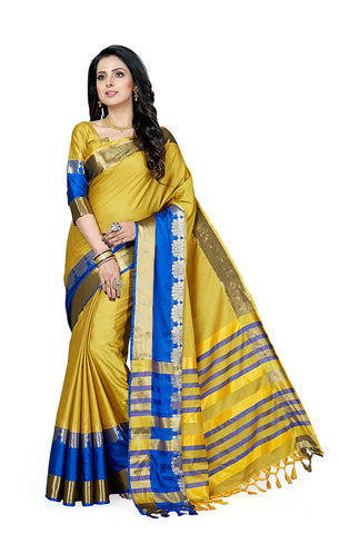 Takshaya Partywear Golden Yellow Cotton Silk Saree With Double Blouse