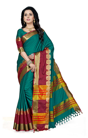 Takshaya Partywear Blue Cotton Silk Saree With Double Blouse