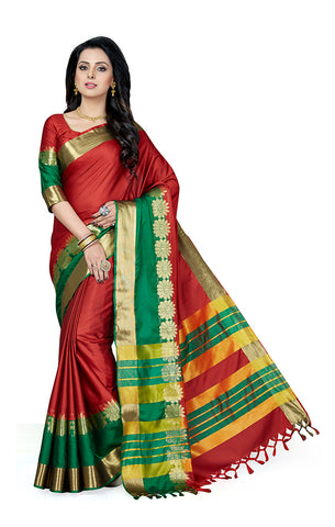 Takshaya Partywear Red Cotton Silk Saree With Double Blouse