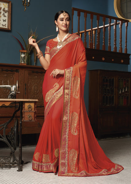 Designer Party Wear Red with Zari Work Georgette Saree By Takshaya
