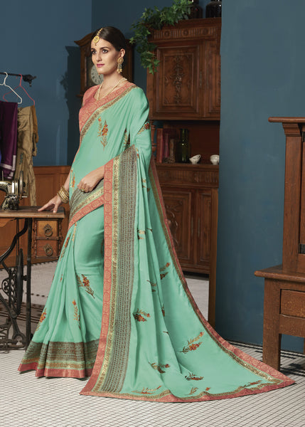Designer Party Wear Sea Green Embroidered Georgette Saree By Takshaya