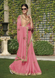 Designer Party wear Light Pink Embroidered Georgette Saree By Takshaya