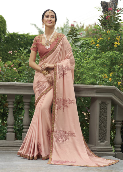 Designer Party Wear Baby Pink Embroidered Georgette Saree By Takshaya