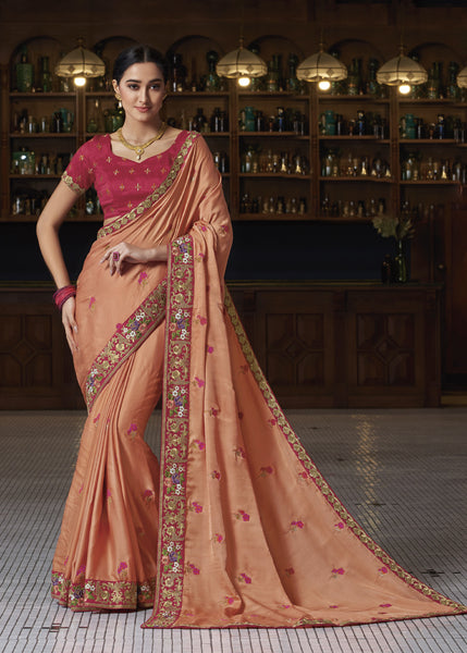 Designer Party Wear Peach Embroidered Saree By Takshaya