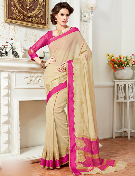 Buy Designer Partywear Plain Zari Work Cream Cotton Silk Saree Online By Takshaya