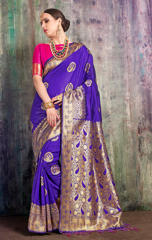 Takshaya Partywear Blue Banarasi Art Silk Weaving Saree