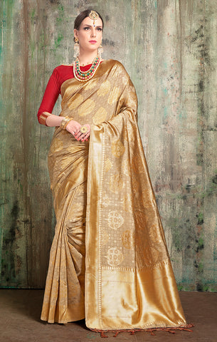 Takshaya Partywear Gold Banarasi Art Silk Weaving Saree