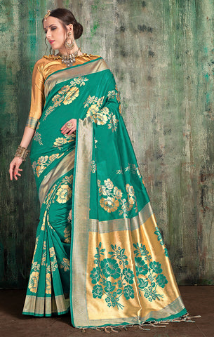 Takshaya Partywear Green Banarasi Art Silk Weaving Saree