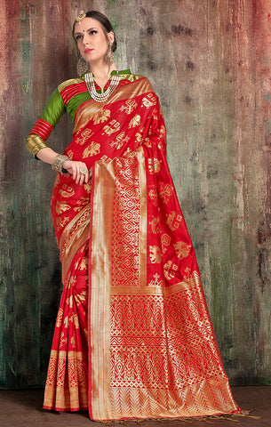 Takshaya Partywear Red  Banarasi Art Silk Weaving Saree