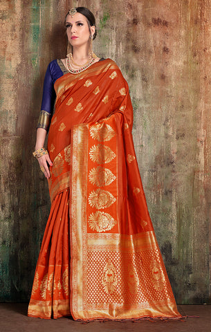 Takshaya Partywear Rust Banarasi Art Silk Weaving Saree