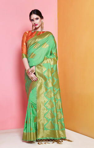 Takshaya Partywear Lime Green Banarasi Soft Art Silk Weaving Saree