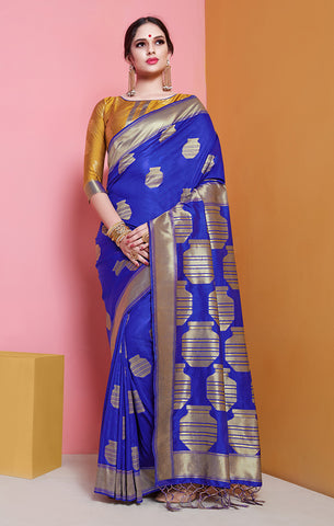 Takshaya Partywear Blue Banarasi Soft Art Silk Weaving Saree