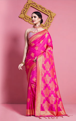 Takshaya Partywear Pink Banarasi Soft Art Silk Weaving Saree