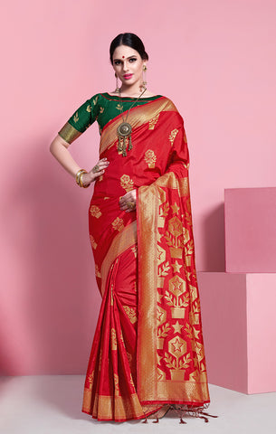Takshaya Partywear Red Banarasi Soft Art Silk Weaving Saree