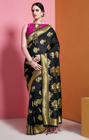 Takshaya Partywear Black Banarasi Soft Art Silk  Weaving Saree