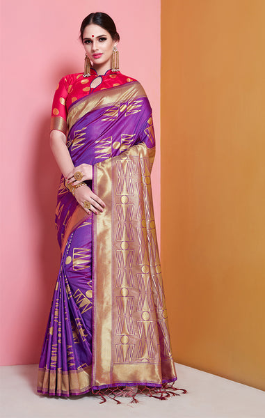 Takshaya Partywear Banarasi Soft Art Silk Weaving Saree