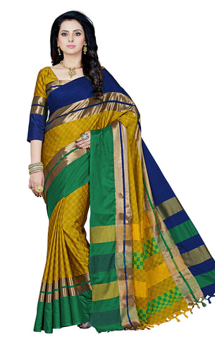 Takshaya Partywear Yellow Cotton Silk Saree With Double Blouse