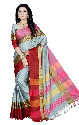 Takshaya Partywear Grey Cotton Silk Saree With Double Blouse