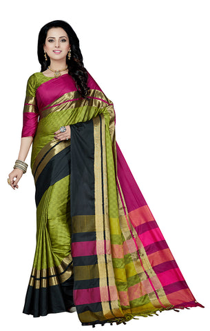 Takshaya Partywear Sea Green Cotton Silk Saree With Double Blouse