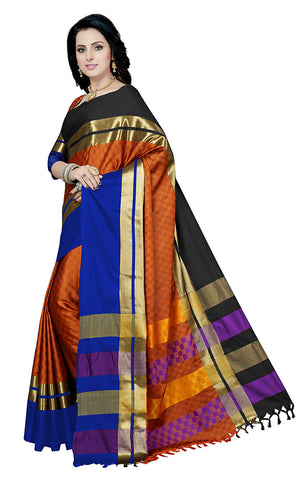 Takshaya Partywear Rust Cotton Silk Saree With Double Blouse