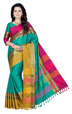 Takshaya Partywear Sky Blue Cotton Silk Saree With Double Blouse