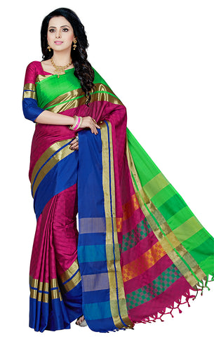 Takshaya Partywear Purple Cotton Silk Saree With Double Blouse