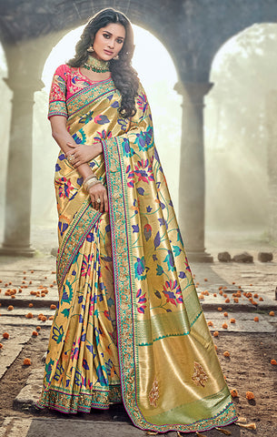 Designer Wedding Wear Gold & Magenta Pure Banarasi Silk Saree