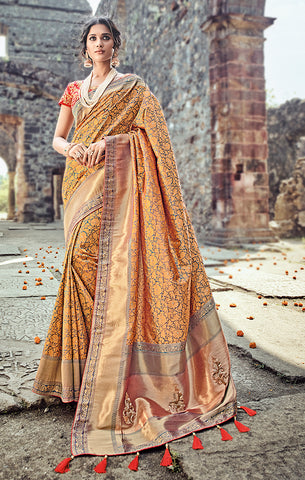 Designer Wedding Wear Mustard Yellow & Red Pure Banarasi Silk Saree