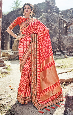 Designer Wedding Wear Red Pure Banarasi Silk Saree