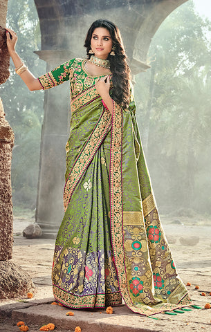 Designer Wedding Wear Green Banarasi Silk Saree