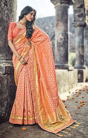 Designer Wedding Wear Peach & Gold Banarasi Silk Saree